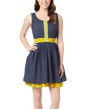 14fccb2904134 100 Cotton Dress Size UK 18 Ladies Short Sleeved Navy Blue   Yellow  1401