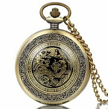Bronze Tone Dragon Phoenix Pattern Arabic Numerals Quartz Pocket Watch Necklace