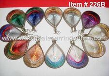 Wholesale 12 pairs of Metallic Thread earring Assorted colors Medium Size #226B
