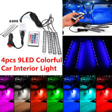 4x 12V 9LED Car Interior Footwell RGB 7Color Changing Music Remote Strip Light P