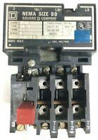 Square D 8536AO2S 8536A02S Magnetic Starter Size 00 600V 3Ph 2HP 480V Coil