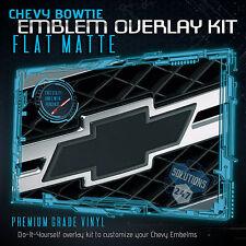 (2) Chevy Bowtie Emblem Overlay Sheets Front Back Vinyl Decal - Flat Matte BLACK