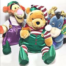 "DISNEY STORE 24"" Plush 3 Winnie Pooh Tigger Eeyore Christmas Stuffed Animal NWT"