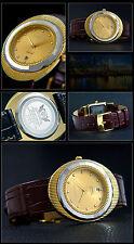 "Cavadini Armbanduhr Serie ""ACAMAR"" mit Lederband, geschliffene Lünette Tungsten"
