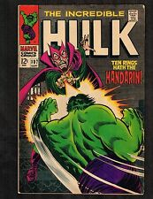 Hulk #107 ~ Ten Rings Hath The Mandarin ~ 1968 (Grade 6.5) WH