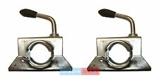 Pair Trailer Jockey Wheel Split Clamps 34mm for Boat Bracket Stems Prop Stands
