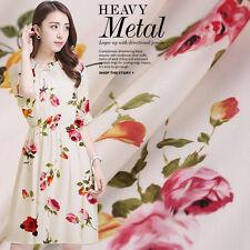 Beige Crepe De Chine Stoff Nähen Mit Blumen Muster Seidenstoffe Kleiderstoff