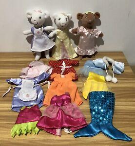 Angelina Ballerina mouse plush soft toy X 3 with 15 Items Of Clothing 2003 Bulk