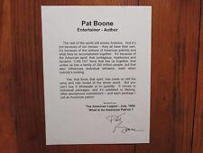"""PAT  BOONE(""""Love Letters in the Sand"""") Signed """"What is an American Patriot"""" Page"""