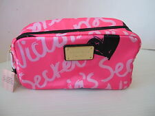 Victoria's Secret Hot Pink Logo print Cosmetic Make up Pencil Case Bag