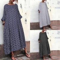 ZANZEA UK Womens Polka Dot Long Sleeve Kaftan Maxi Dress Ladies Holiday Sundress