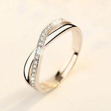 Damen Ring Kristall Ehering Finger Ring Silber Rosegold Edelstahl Mode Schmuck