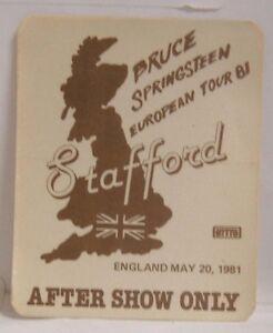 BRUCE SPRINGSTEEN - VINTAGE ORIGINAL 1981 CLOTH TOUR CONCERT BACKSTAGE PASS