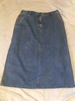 LL BEAN Straight Blue Cotton Denim Jean Skirt Womens size 12 Petite