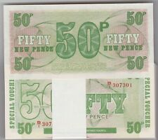 More details for 100 consecutive 1972 50 pence mint condition military armed forces banknotes