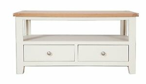 Hobart Ivory/Solid Oak Top Coffee Table With 2 Drawers / Fully Assembled