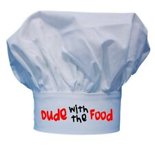 Dude With The Food Funny Chef Hats For Men, White Toque Hats, Adjustable Closure