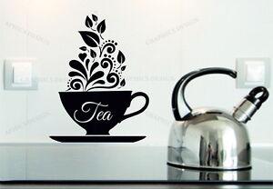 Tea Cup Mug Kitchen Wall Art Sticker Decorative Vinyl Tiles Fridges Windows