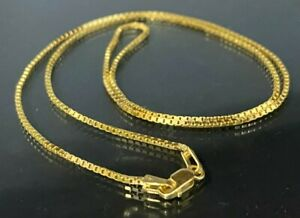 14k solid gold Box Link chain Necklace 4.25g / 46cm