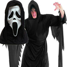 SCREAM ROBE + MASK Ghost Vampire Hooded Cape Halloween Fancy Dress Costume