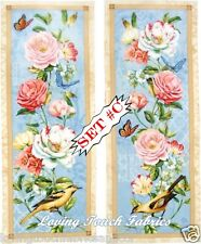 "PAIR OF WILMINGTON VICTORIAN ROSES BUTTERFLIES BIRDS FABRIC PANELS 9""x23"" EA. #C"
