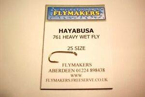 25 HAYABUSA COMPETITION HEAVY WIRE SPROAT DOWN EYE TROUT FLY HOOKS FLY761
