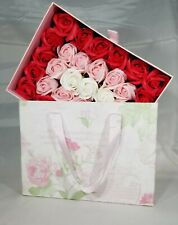 Square wood Box of soap roses for Wedding Party Christmas Valentine's Day Gift