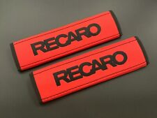 Recaro Soft Red Seat Belt Shoulder Pads Covers Black embroidery 2PCS