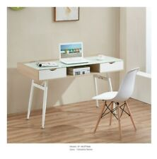 Computer Desk Scandinavian Nordic Style Workstation with glass top + 2 Drawers