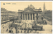 Brussels, La Bourse, PPC, Unposted Animated Street Scene With Numerous Trams