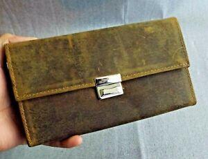 Ladies Distressed Genuine Leather Purse Clutch Bag Wallet Card Holder Vintage