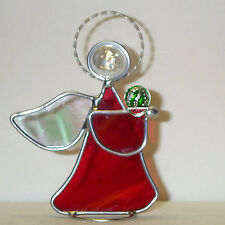 Black Diamond Watermelon held by Leaded Stained Glass Angel Made in America New