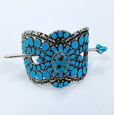 Western Style Silver Tone Turquoise Color Squash Blossom Design Hair Cuff Pin
