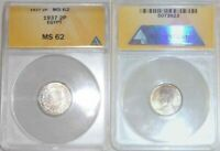 1937 Egypt Small Silver Coin Two Pistres King Frouk Uncirculated ANACS MS 62