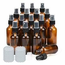 ULG Small Glass Bottles Amber Glass Bottles 2 oz Glass Spray Bottles Empty 16PCS