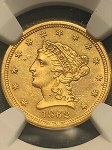 "1862 S $2 1/2 Liberty Gold Quarter Eagle NGC ""UNCIRCULATED DETAILS""  Make Offer"