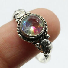 Gemstone Ring of Us Size 7.5 Gift Fire Mystic Topaz 925 Silver Plated Handmade