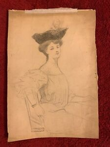 """HENRI MARIUS CAMILLE BOUVET (1859-1945) 7""""x10 1/4"""" Sketch of a Lady in Hat"""