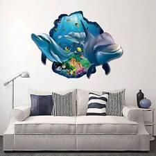 3D Dolphin Wall Sticker Ocean Waterproof Bathroom Decal Mural Kids Room s Mbyss