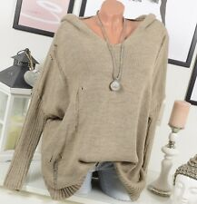 Pull tricot extra-large Pull LOOK destroyed Vintage 44 46 48 50 capuche beige