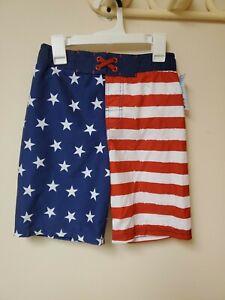 Boys American Flag Swim Trunks NWT Size Medium 8/10