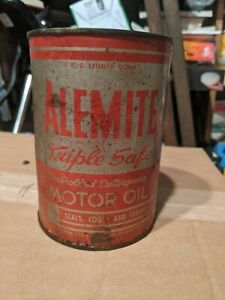 Vintage Alemite 1Quart Motor Oil metal Can. (Full) 1960's