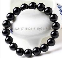 10mm Black Agate Gemstone Round Beads Stretchy Bracelet Elastic Bangle