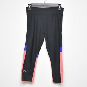 UNDER ARMOUR Black Pink Striped Crop Leggings Women's Size Small