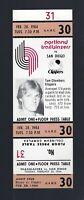VINTAGE 1983-1984 NBA CLIPPERS @ TRAILBLAZERS FULL TICKET - TOM CHAMBERS