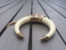 Tribal Crescent Moon Tusk Double Horn Chevron Gold Tone Long Necklace Boho