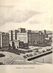 Vintage Print: ABERDEEN ROYAL INFIRMARY  - Pencil Drawing after GRAHAM CLILVERD