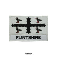 FLINTSHIRE County Flag With Name Embroidered Patch Iron on Sew On Badge