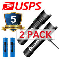 2 PACK 20000lm USB Rechargeable T6 LED Tactical Flashlight Torch