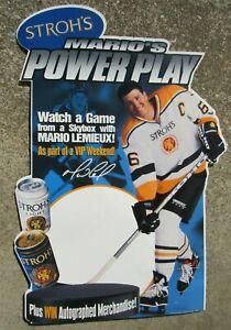 Mario Lemieux Stroh's Beer Unused Sign Pittsburgh Penguins Hockey 1998 W/ Easel